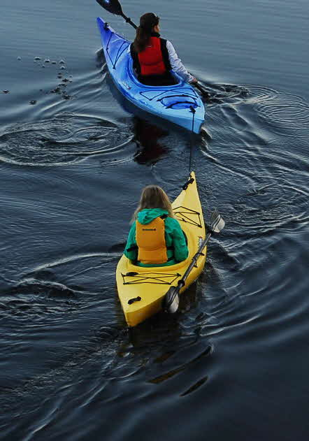 The standard feature tow line is very handy for when your child is too tired to paddle.
